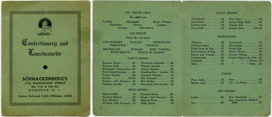 Menu from Schnackenberg's Confectionery and Luncheonette, 1110 Washington Street, circa 1940s.